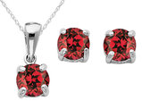 Created Ruby Earrings and Pendant Set 1/2 Carat (ctw) in Sterling Silver with Chain