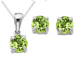 Peridot Earrings and Pendant Set 2/5 Carat (ctw) in Sterling Silver with Chain