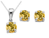 Citrine Earrings and Pendant Set 1/2 Carat (ctw) in Sterling Silver with Chain