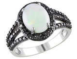Opal and Black Diamond 1.65 Carat (ctw) Ring in Sterling Silver