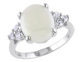 Opal and Created White Sapphire 2.85 Carat (ctw) Ring in Sterling Silver