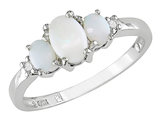 Three Stone Created Opal and Diamond 2/5 Carat (ctw) Ring in 10K White Gold