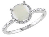 Opal 1.0 Carat (ctw) Ring with Diamonds in Sterling Silver