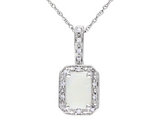 Created Opal and Diamond 3/4 Carat (ctw) Pendant Necklace in 10K White Gold with Chain