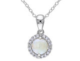 Opal and Diamond 3/5 Carat (ctw) Pendant Necklace in Sterling Silver with chain