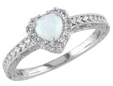 Opal and Diamond 2/5 Carat (ctw) Ring in Sterling Silver