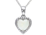 Opal 1.0 Carat (ctw) Heart Pendant Necklace in Sterling Silver with Chain