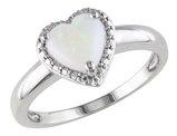 Opal Heart Ring 1.0 Carat (ctw) in Sterling Silver