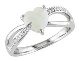 Opal Heart 1.0 Carat (ctw) Ring with Diamonds in Sterling Silver