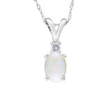 Created Opal 1/2 Carat (ctw) Pendant Necklace with Diamond in 10K White Gold with Chain