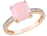Created Pink Opal and Diamond Ring 1.40 Carat (ctw) in 10K Rose Gold