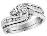 Diamond Interlocking Engagement Ring and Wedding Band Set 1/2 Carat (ctw) in 10K White Gold