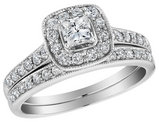 Diamond Halo Engagement Ring and Wedding Band Set 1.0 Carat (ctw) 10K White Gold