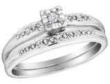Diamond Engagement Ring and Wedding Band Set Sterling Silver