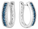 Blue and White Diamond 1/4 Carat (ctw) Hoop Earrings in Sterling Silver