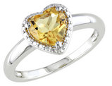Citrine 1.14 Carat (ctw) Heart Ring in Sterling Silver
