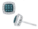 Blue and White Diamond Earrings 1/10 Carat (ctw) in Sterling Silver