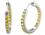 Citrine 2.40 Carat (ctw) In and Out Hoop Earrings in Sterling Silver