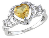 Citrine and Diamond 1.20 Carat (ctw) Heart Ring in Sterling Silver