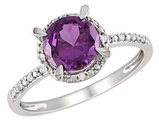 Created Alexandrite and Diamond 1.6 Carat (ctw) Halo Ring in 10K White Gold