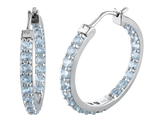 Blue Topaz 2.80 Carat (ctw) In and Out Earrings in Sterling Silver