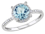 Blue Topaz and Diamond 1.65 Carat (ctw) Ring with Halo in 10K White Gold