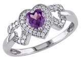 Created Alexandrite and Diamond Heart Ring in 10K White Gold