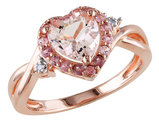 Morganite Heart Ring with Pink Tourmaline and Diamond in Rose Sterling Silver