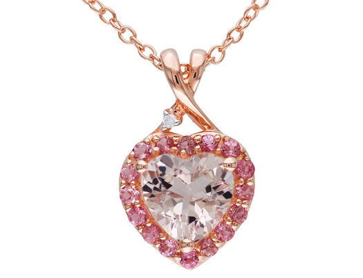 Morganite and Pink Tourmaline Heart Pendant 1.33 Carat (ctw) with Diamond in Rose Sterling Silver with Chain