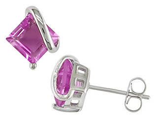 Created Pink Sapphire Stud Earrings 2.64 ctw in Sterling Silver