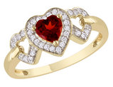 Garnet and Diamond Heart Ring 3/5 Carat (ctw) in 10K Yellow Gold