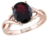 Garnet and Diamond 3.0 Carat (ctw) Infinity Ring in 10K Rose Gold