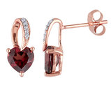 Garnet and Diamond 1.50 Carat (ctw) Heart Earrings in 10K Rose Gold