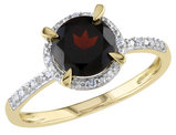 Garnet Ring with Diamonds 1.60 Carat (ctw) in 10K Yellow Gold