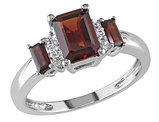 Three Stone Garnet and Diamond 1.60 Carat (ctw) Ring in 10K White Gold