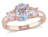 Aquamarine Ring 1.60 Carat (ctw) with Created White Sapphire in Rose Sterling Silver