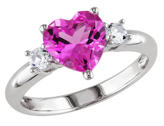 Created Pink Sapphire and Created White Sapphire Heart Ring 2.50 Carat (ctw) in Sterling Silver