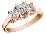 Princess Cut Diamond Engagement Ring and Three Stone Anniversary Ring 3/4 Carat (ctw) in 14K Rose Gold