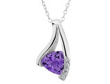 Created Alexandrite Pendant Necklace 1/2 Carat (ctw) with Diamonds in Sterling Silver with Chain