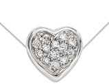 Sterling Silver Heart Charm Pendant Necklace with Cubic Zirconia (CZ) and chain