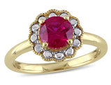 Solitaire Halo Created Ruby Ring 1 3/8 Carat (ctw) in 10K Yellow Gold