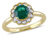 Solitaire Created Synthetic Emerald Ring 1.00 Carat (ctw) in 10K Yellow Gold