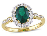 Created Emerald and White Topaz 1 5/8 Carat (ctw) Ring with Diamonds in 14K Yellow Gold