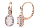 Opal and White Topaz LeverBack Earrings 1 3/4 Carat (ctw) with Diamonds in 14K Pink Gold