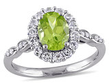 Peridot and White Topaz Fashion Ring 2 Carat (ctw) with Diamonds in 14K White Gold