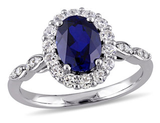 Created Blue Sapphire and White Topaz Fashion Ring 2 5/8 Carat (ctw) with Diamonds in 14K White Gold