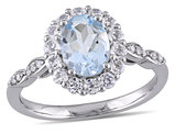 Aquamarine and White Topaz Fashion Ring 1 5/8 Carat (ctw) with Diamonds in 14K White Gold