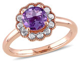 Amethyst Halo Ring 7/8 Carat (ctw) in 10K Pink Gold
