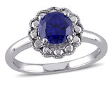 Created Blue Sapphire Halo Ring 1 1/4 Carat (ctw) in 10K White Gold