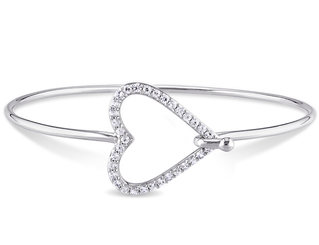 White Sapphire Heart Bangle Bracelet in Sterling Silver